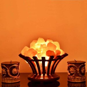 Purifying Himalayan Pink Salt Chunks Flower-Shaped Basket Lamp - Himalayan Salt Lamp - Chakra Galaxy