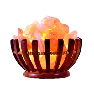 Purifying Himalayan Pink Salt Chunks Round-Shaped Basket Lamp - Himalayan Salt Lamp - Chakra Galaxy