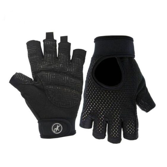 Raven Black All-Around Yoga Workout Gloves for Perspiring Hands - Yoga Gloves - Chakra Galaxy