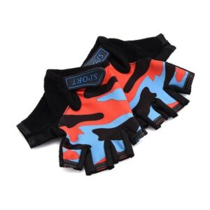 Red & Blue Camouflage Slim Yoga Workout Gloves for Wrist Protection - Yoga Gloves - Chakra Galaxy