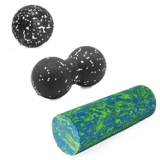 Resin Design Blue & Green Yoga Foam Roller + Free Peanut Ball EPP - Yoga Props - Chakra Galaxy