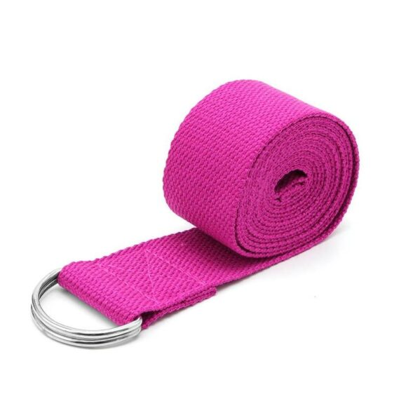 Rose Pink Soft Comfy Cotton Yoga Stretch Strap For Dynamic Fitness Stretching - Yoga Straps - Chakra Galaxy