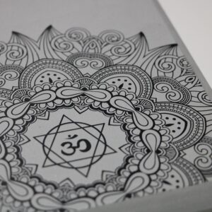 Serene Mandala Om Design Gray Non-Toxic Yoga Foam Block - Yoga Blocks - Chakra Galaxy