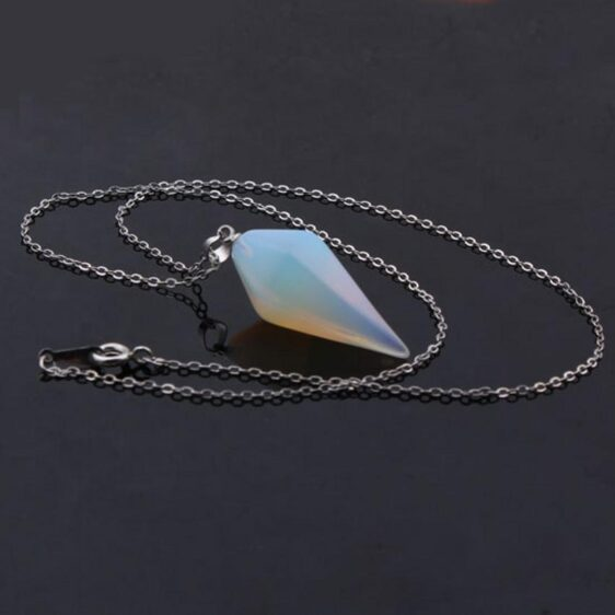 Silver Plated Stone Hexagon Prism Pendant Opalite Chakra Necklace - Chakra Necklace - Chakra Galaxy