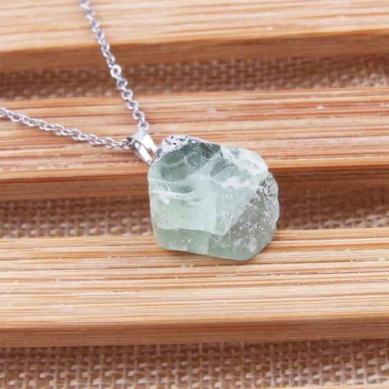 Silver Plated Wrapped Green Fluorite Stone Quartz Chakra Necklace - Chakra Necklace - Chakra Galaxy