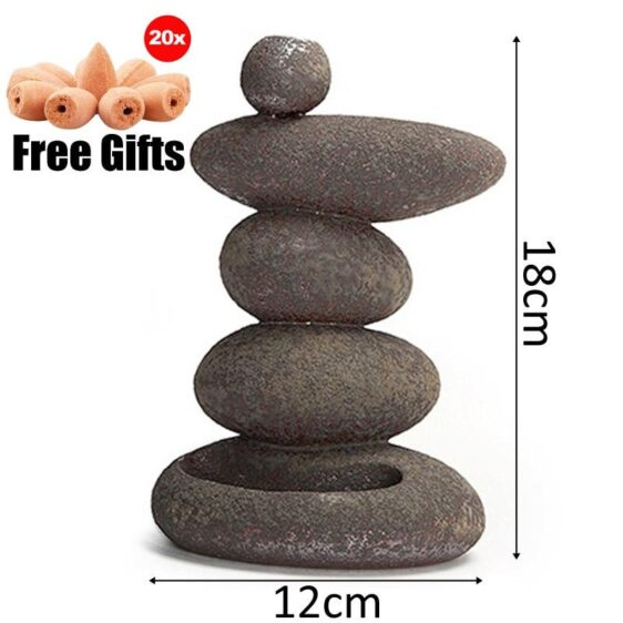 Smoke Backflow Stacked Stone Mountain Zen Incense Burner Holder - Incense & Incense Burners - Chakra Galaxy