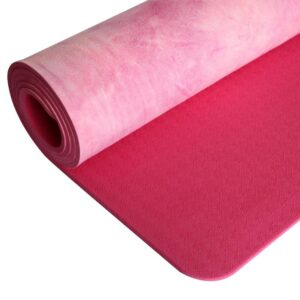 Sophisticated Coral Pink Tie-dye Best Yoga Mat Online Suede TPE - - Chakra Galaxy