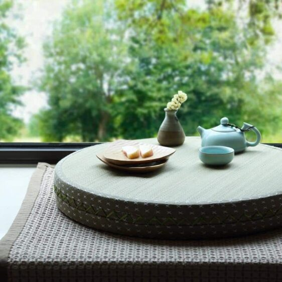 Stylish Japanese Zen Tatami Zafu Cushion Round Meditation Seat - Meditation Seats & Cushions - Chakra Galaxy