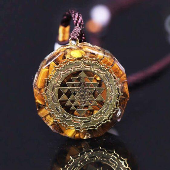Tiger's Eye Chakra Orgonite Shri Yantra Geometry Necklace Energy Healing Pendant - Chakra Necklace - Chakra Galaxy