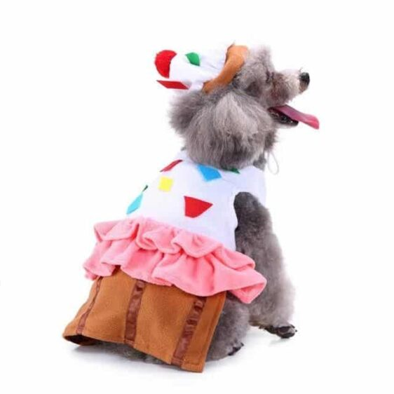 pawstrip Cake Design Pet Dog Clothes Halloween Puppy Costume Party Festival Dog Coat Soft Fleece Warm Puppy Jacket Hat Apparel - Woof Apparel