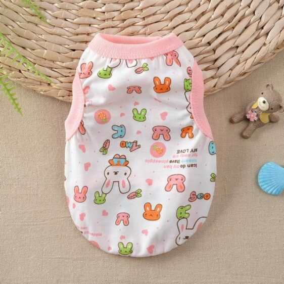 Adorable Bunny Head Print Spring Small Dog Tank Top - Woof Apparel