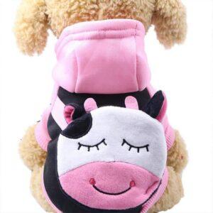 Cute Cartoon Cow Pocket Warm Fleece Lining Hoodie For Dogs - Woof Apparel