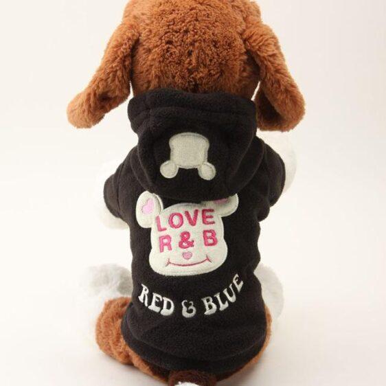Cute Love R&B Bear Fleece Print Warm Winter Puppy Hoodies - Woof Apparel