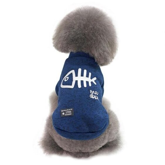 Comfy Soft Fish Print Warm Winter Jacket For Small Dogs - Woof Apparel