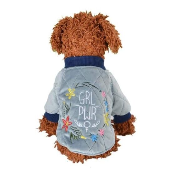 Embroidered Girl Power Winter Puppy Jacket For Small Dogs - Woof Apparel
