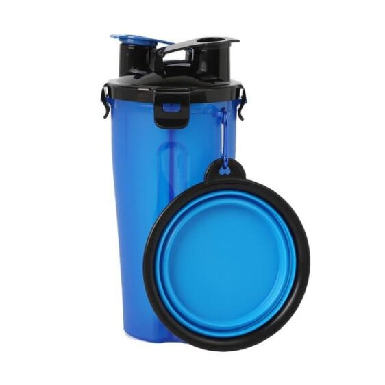 Water Bottle Collapsible Bowl 2 in 1 Travel Dog Feeding - Woof Apparel