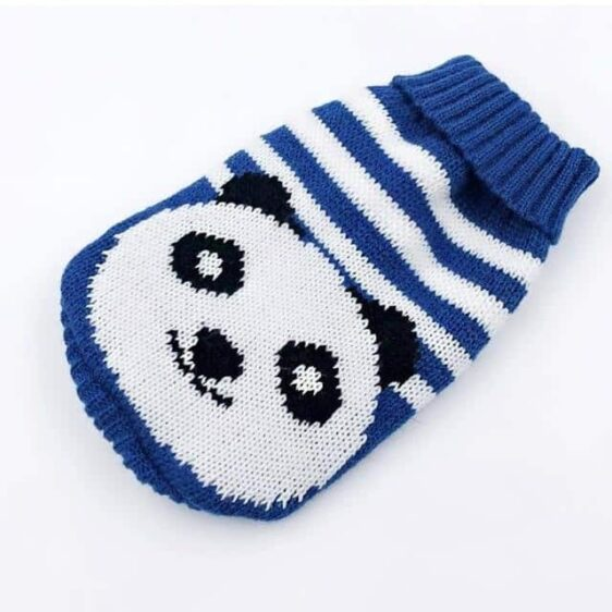 Smiling Panda Knitted Crochet Blue Small Dog Sweater - Woof Apparel