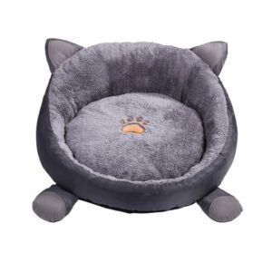 Round Cat Ears Washable Cartoon Paw Cushion Dog Bed - Woof Apparel