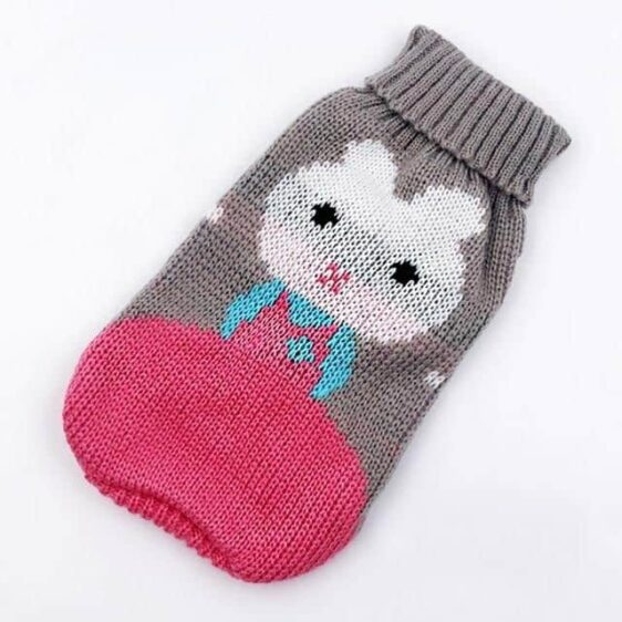 Bunny Dressed In Pink Knitted Crochet Gray Puppy Sweater - Woof Apparel