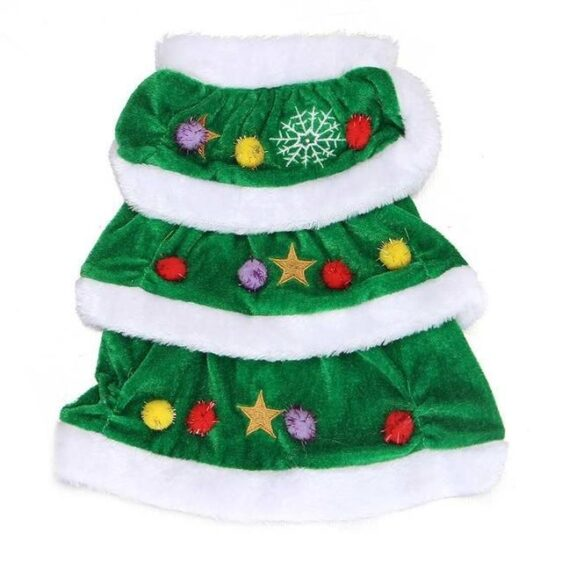 Colorful Green Christmas Tree Holiday Costume Dress For Dogs - Woof Apparel