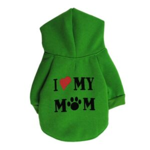 Cute Statement I Love My Mom Winter Hoodie For Small Dogs - Woof Apparel