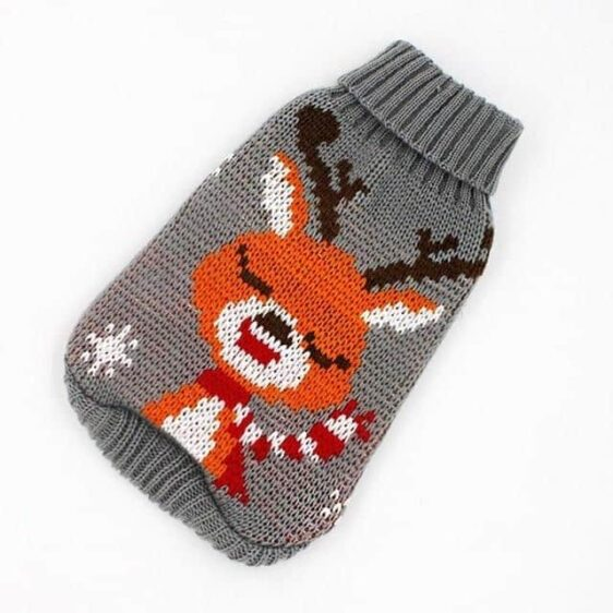 Calm Cold Elk Knitted Crochet Grey Small Dog Sweater - Woof Apparel