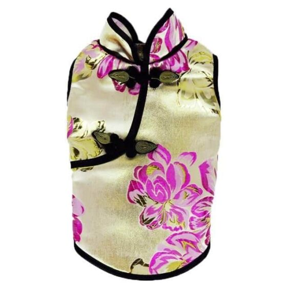 Elegant Chinese Style Floral Spring Small Dog Dress - Woof Apparel