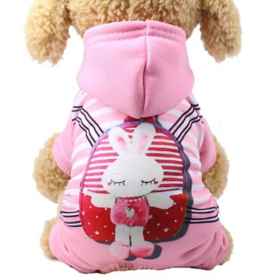 Sporty Bunny Character Hoodie Warm Jumpsuit For Dogs - Woof Apparel