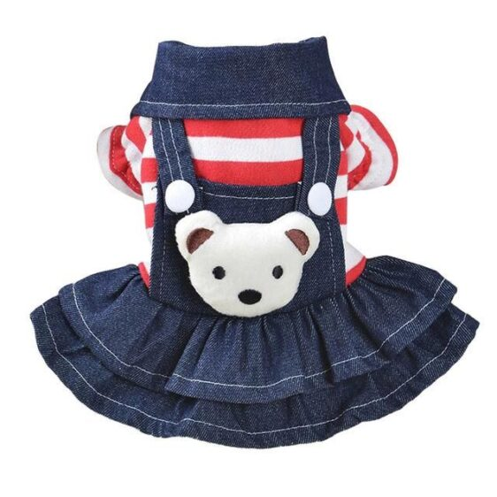 Red Black Bear Small Dogs Puppy Overalls Dog Dress - Woof Apparel