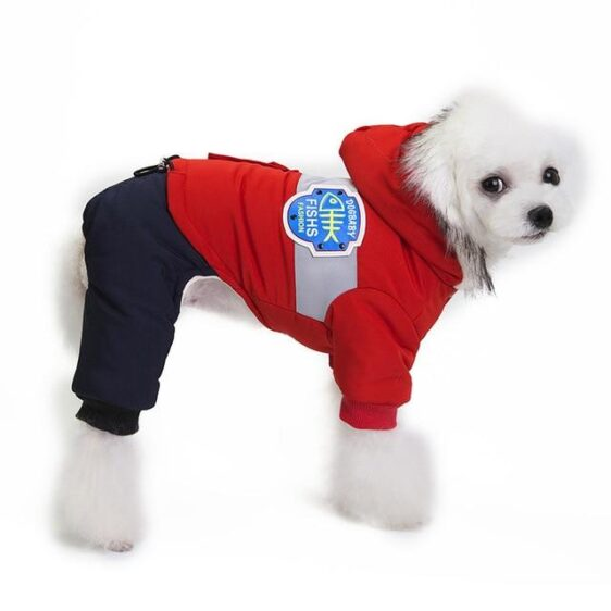 Fur Collar Hooded Puppy Warm Coat Winter Jumpsuit Clothing - Woof Apparel