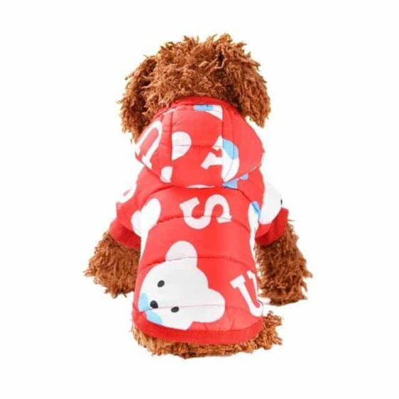 Cute Cartoon Print Soft Winter Hooded Jacket For Small Dogs - Woof Apparel