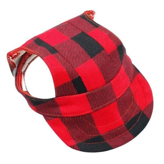Red And Black Checkered Dog Sun Visor With Velcro Straps - Woof Apparel