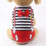 Red Bow Striped Jumper Summer Outfit Small Dog Shirt - Woof Apparel