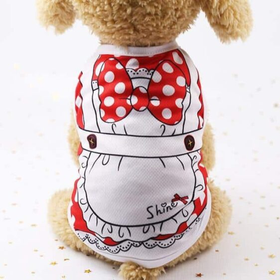 Cute White Dot Bow Design Soft Spring Small Dog Shirt - Woof Apparel
