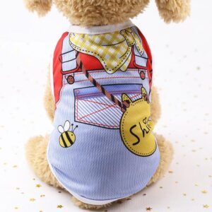 Blue Jean Jumper Yellow Scarf Design Summer Puppy Shirt - Woof Apparel