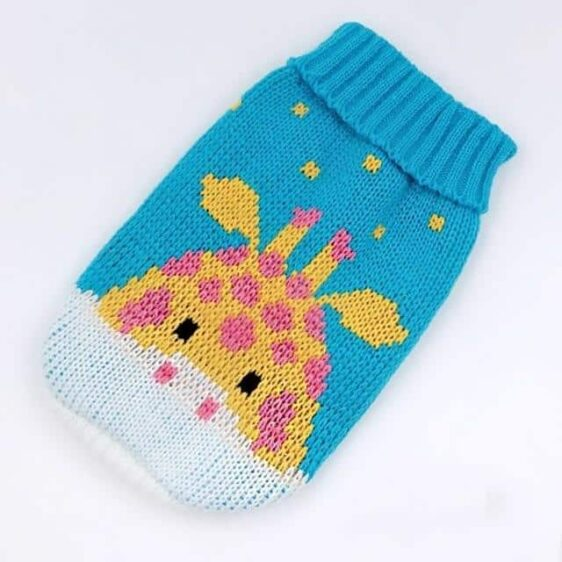 Blue Fawn Cartoon Knitted Crochet Outfit Small Dog Sweater - Woof Apparel
