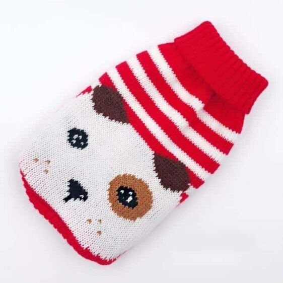Cartoon Dog Red Striped Knitted Crochet Puppy Sweater - Woof Apparel