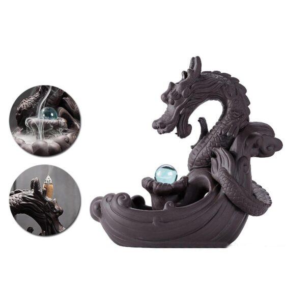 Waterfall Backflow Dragon Crystal Ball Incense Burner Holder - Incense & Incense Burners - Chakra Galaxy
