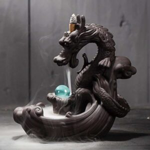Waterfall Backflow Dragon Crystal Ball Incense Burner Holder - Incense & Incense Burners - Chakra Galaxy