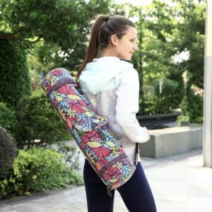 Waterproof Fitness Pilates Adjustable Strap Yoga Mat Bag Leaves Print - Yoga Mat Bags - Chakra Galaxy