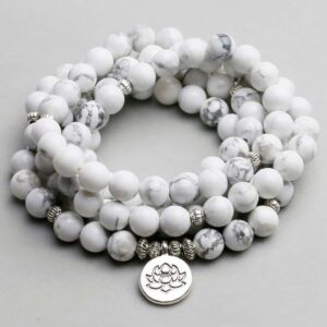 White Howlite Stone with Lotus Charm Necklace 108 Mala Beads - Chakra Necklace - Chakra Galaxy