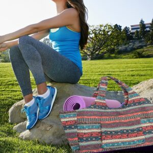 Yoga Mat Pilates Canvas Tote Bag Bohemian Ethnic Style Print - Yoga Mat Bags - Chakra Galaxy