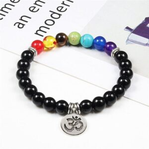 Yoga OM Symbol 7 Healing Beads Chakra Bracelet for Men & Women - Charm Bracelets - Chakra Galaxy