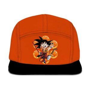Dragon Ball Adorable Kid Goku With Stick Orange Black Five Panel Cap