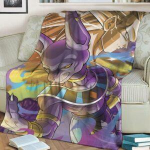 Dragon Ball Beerus God Of Destruction With Goku SSJ3 Awesome Fleece Blanket