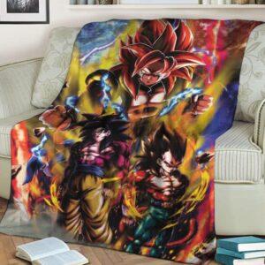 Dragon Ball GT Goku Vegeta Xeno Gogeta SSJ4 Awesome Fleece Blanket