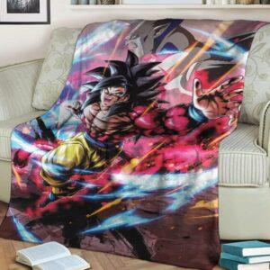 Dragon Ball GT Son Goku Saiyan 4 Omega Shenron Throw Blanket