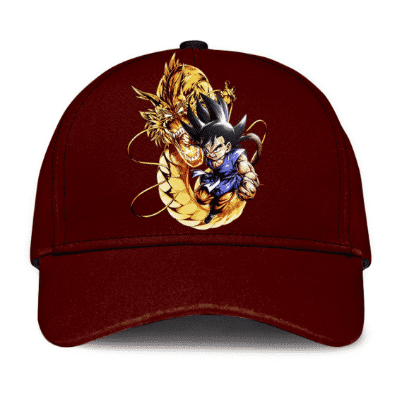 Dragon Ball Kid Goku Dragon Punch Dark Maroon Cool Dad Baseball Hat