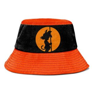 Dragon Ball Kid Goku Orange Black Silhouette Cool Bucket Hat