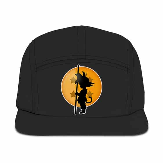 Dragon Ball Kid Goku Silhouette Holding A Stick Black Five Panel Cap